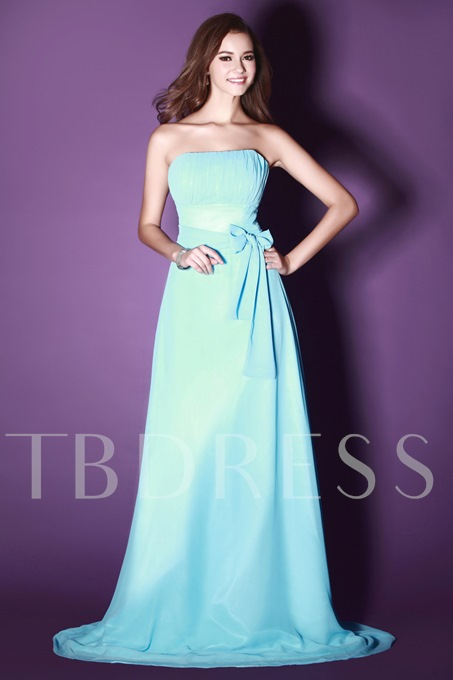 Ribbons Strapless A-Line Bridesmaid Dress