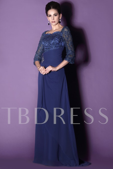 Lace Sleeves Mother of the Bride Dress With Shawl