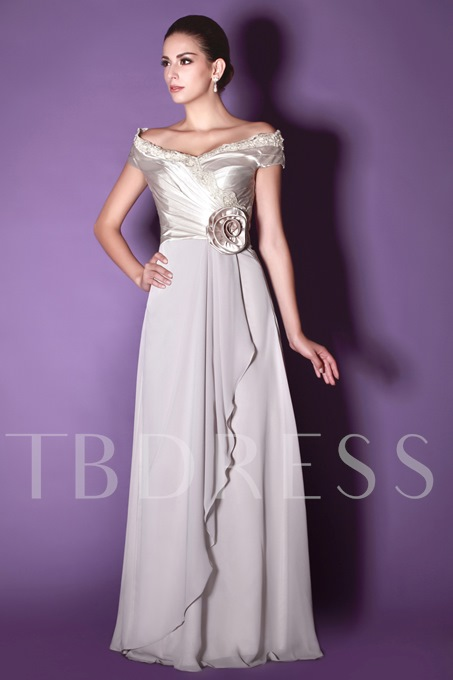 Flower Lace Draped A-Line Mother of the Bride Dress With Zipper-Up