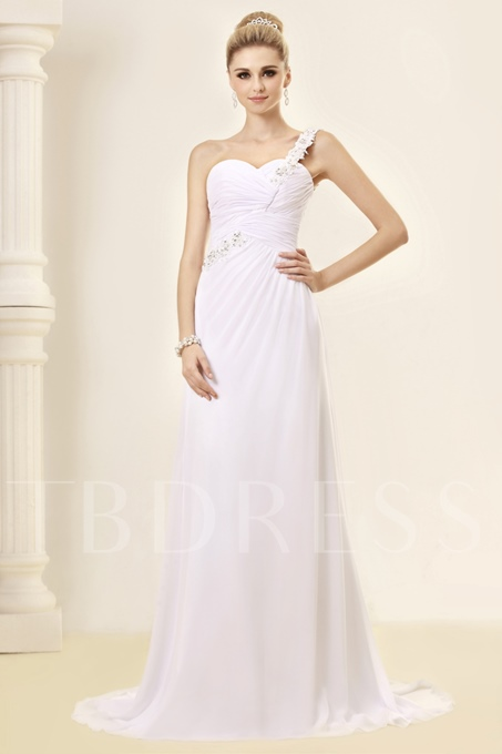 Sheath/Column One-Shoulder Court Wedding Dress