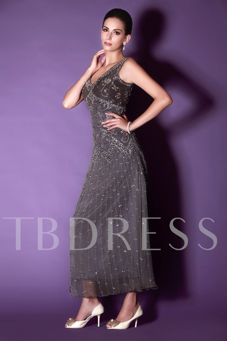 Column Embroidery Beaded Ankle-Length Mother Dress