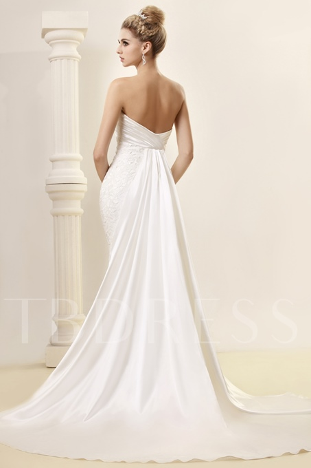 Mermaid Strapless Floor-length Watteau Lace Dash's Wedding Dress