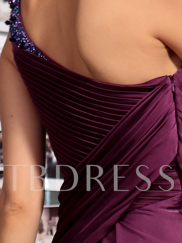 One Shoulder Beading Draped Evening Dress
