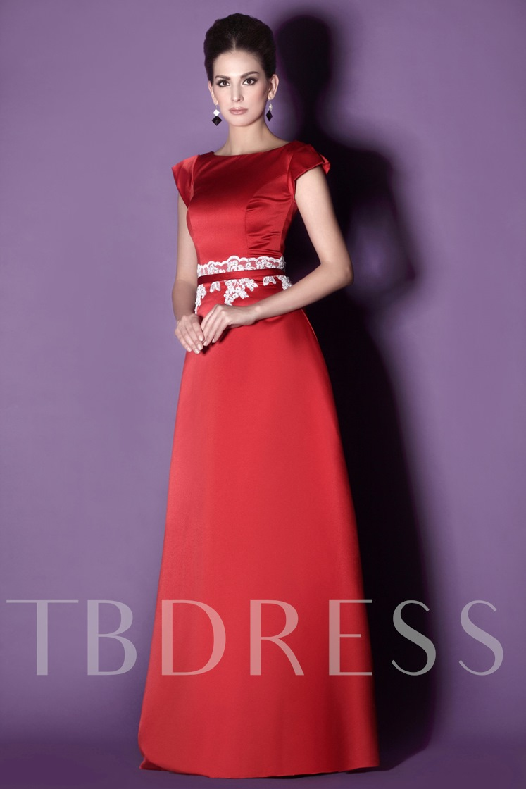 Applique Cap Sleeves Mother of the Bride Dress