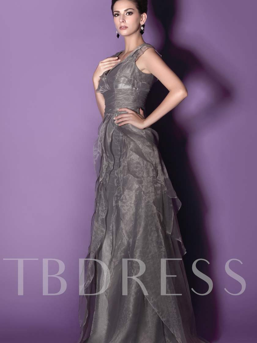 Cap Sleeve Tiered Mother of the Bride Dress