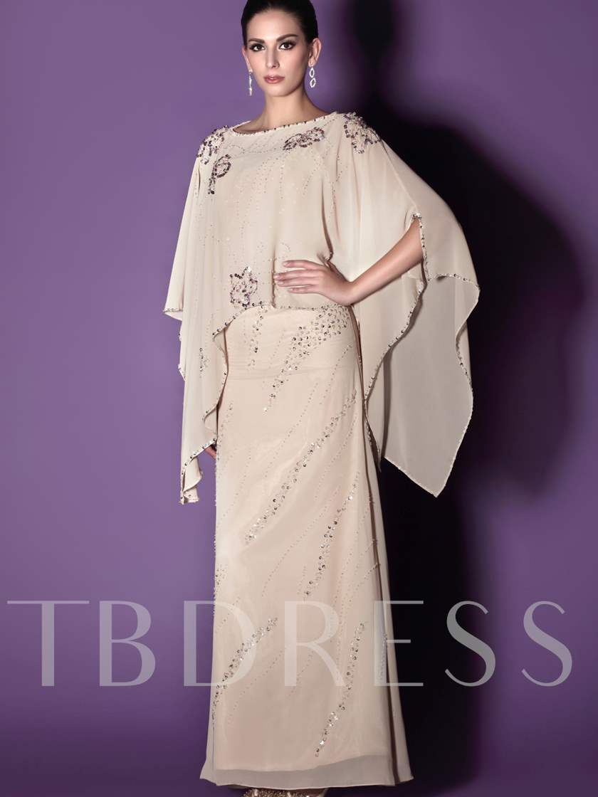 Sequins Sheath Mother of the Bride Dress with Shawl