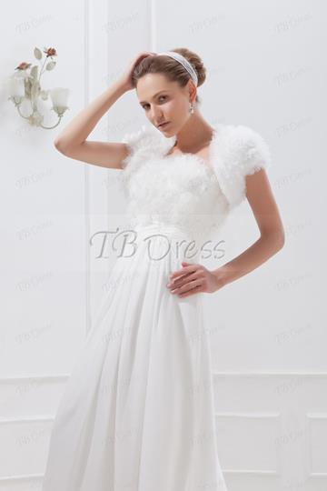 Short Sleeve White Wedding Jacket/Bolero