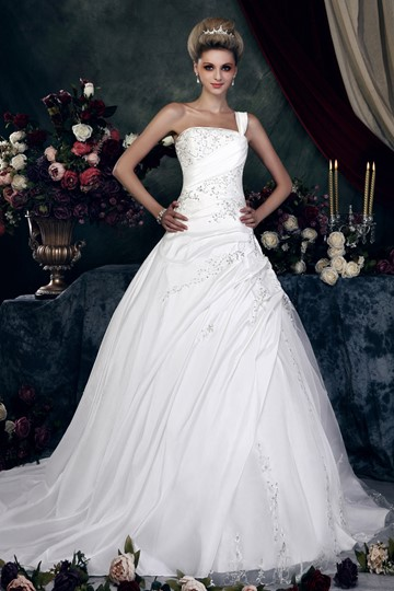 One-Shoulder Embroidery Sequins Wedding Dress