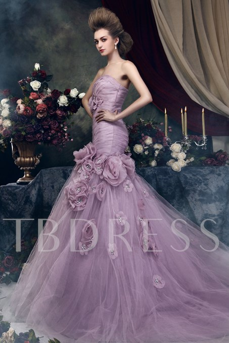 Mermaid Strapless Flowers Color Wedding Dress