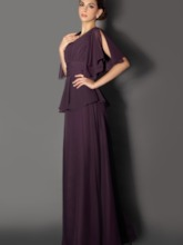 Beaded V-Neck Tiered Mother of the Bride Dress