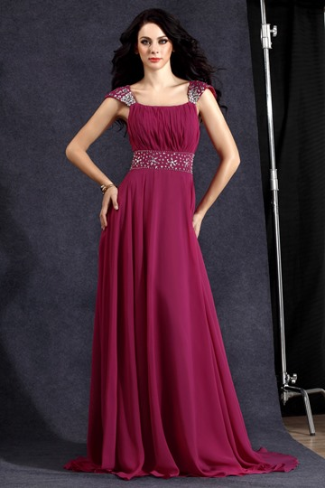 Square Neckline A-line Beading Long Evening/Prom Dress