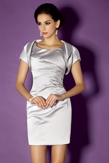 Sheath Scoop Neckline Knee-length Mother of the Bride Dress