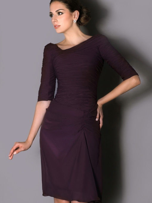 Sheath Half Sleeve Knee-length Mother Of The Bride Dress