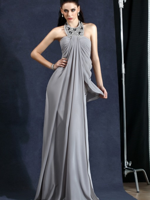 Draped Beading Halter Silver Evening Dress