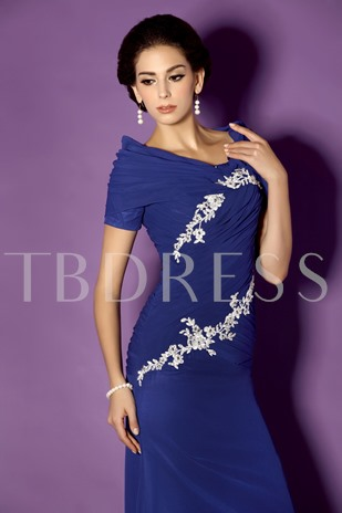 Appliques Short Sleeves Mother of the Bride Dress