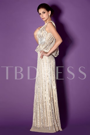 Sequins Column V-Neck Mother of the Bride Dress