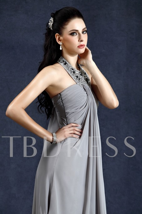 Draped A-Line Halter Floor-Length Evening Dress