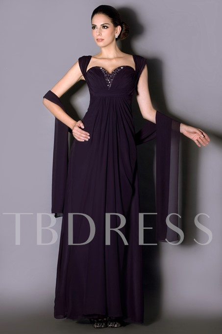 Straps Beading Mother of the Bride Dress with Shawl