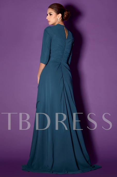 Beaded Tiered A-Line 3/4-Sleeves Mother of the Bride Dress