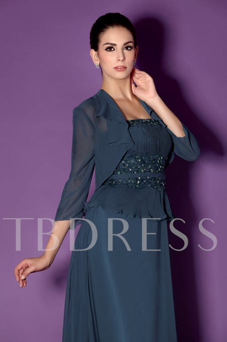 Appliques Strapless Mother of the Bride Dress With Jacket