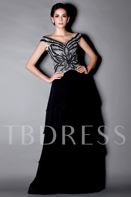 Embroidery Lace Tiered Mother of the Bride Dress