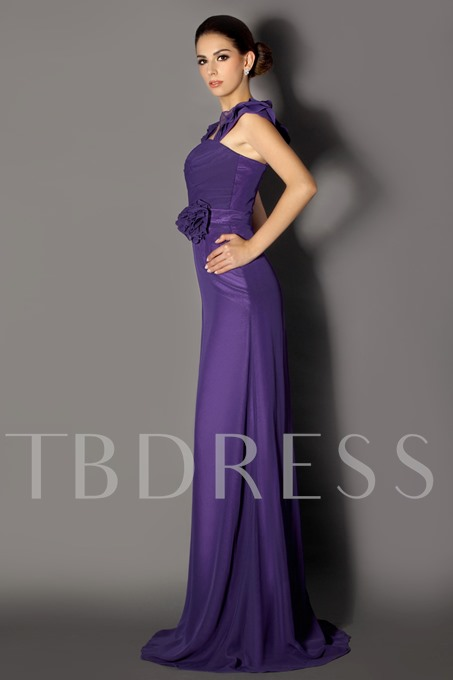 Tiered Straps FLower Long Bridesmaid Dress