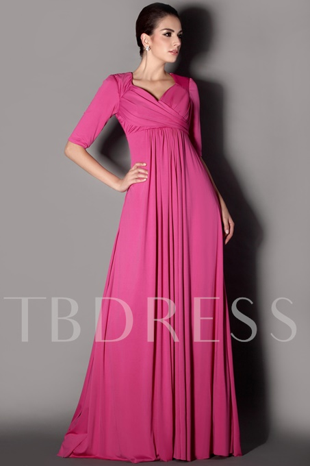Pleats Half Sleeves Plus Size Mother of the Bride Dress
