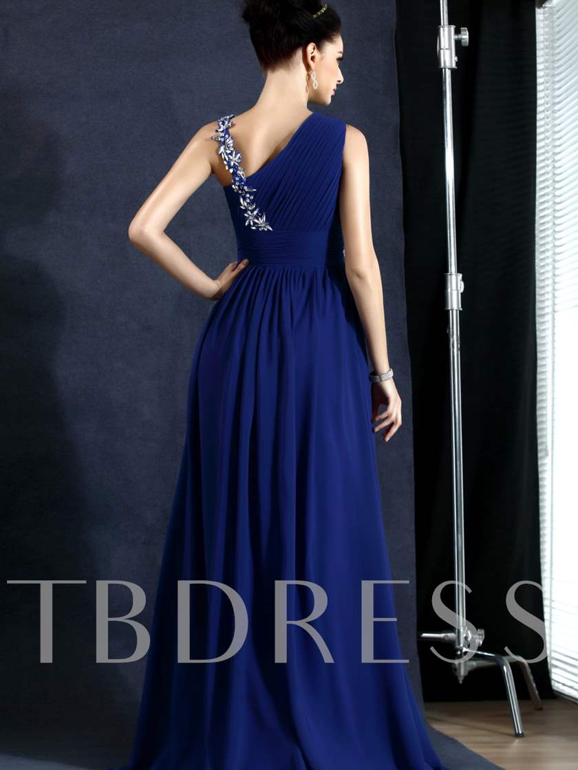 A-Line Floor-Length Beadings Empire Evening Dress