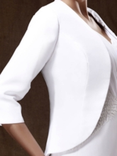 3/4-Length Sleeve White Party Jacket