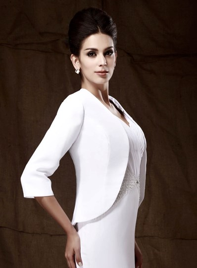 3/4-length sleeve white wedding/party jacket
