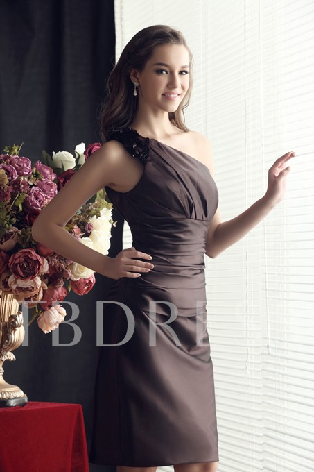 One-Shoulde Ruched Sheath/Column Short Bridesmaid Dress