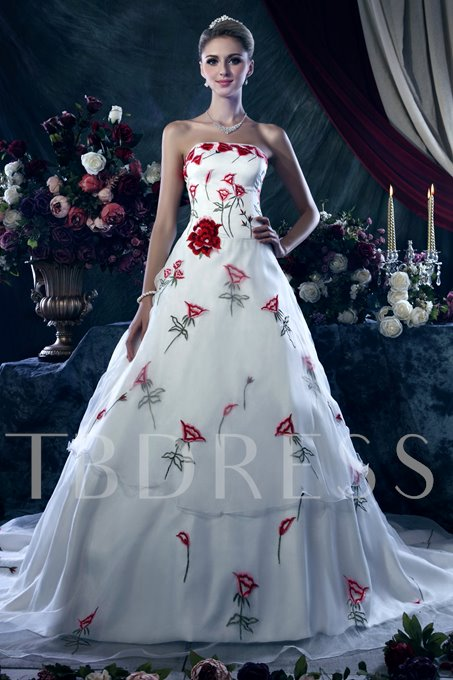 Embroidery Strapless Lace-Up Wedding Dress