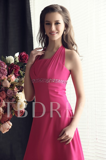 Tiered A-Line Halter Beading High-low Bridesmaid Dress
