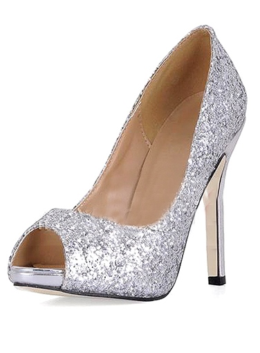 0a37fd74947 Shining Silver Stiletto Heels Peep Toe Prom Evening Shoes