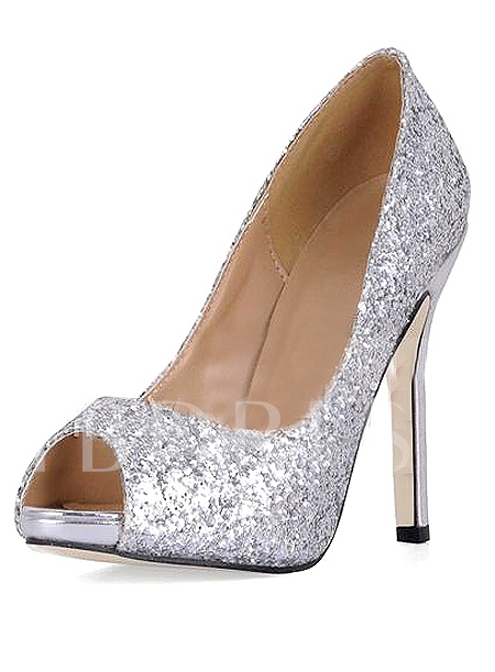 Buy Shining Silver Stiletto Heels Peep Toe Prom/Evening Shoes, Spring, 10185410 for $61.99 in TBDress store