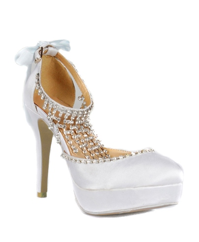 White Platform Satin Stiletto Heels Closed-toe Prom/Evening Shoes