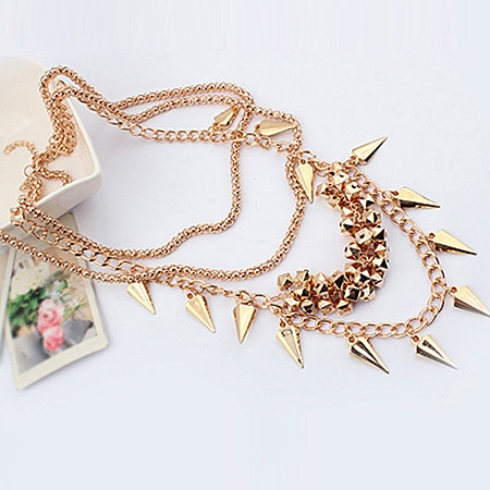 Punk Alloy Rivet Multi-layers Necklace