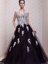 Halter Empire Floor-Length Taline's Prom Ball Gown Dress