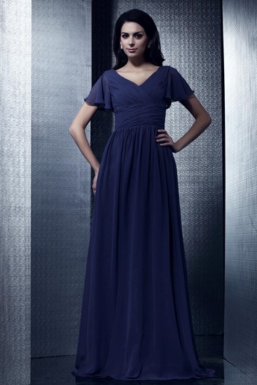 A-Line Floor-Length V-Neck Taline's Mother of the Bride Dress
