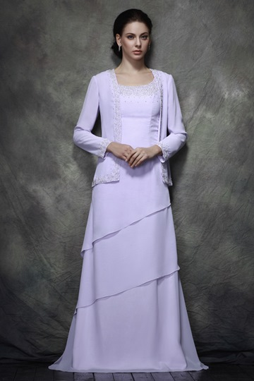 Teried A-line Scoop Beads Floor-length Mother of the Bride Dress