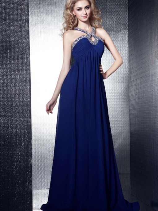 A-Line Floor-length Halter Dasha's Evening Dress