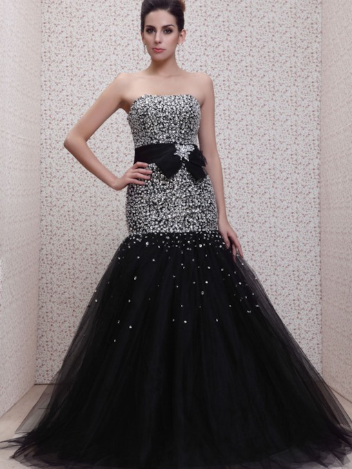 Beading Mermaid Strapless Floor-Length Evening Dress