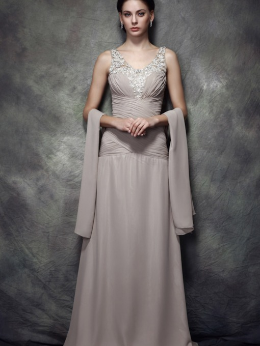Column V-Neck Appliques Mother of the Bride Dress With Shawl