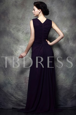 Beaded Straps Split-Front Mother of the Bride Dress