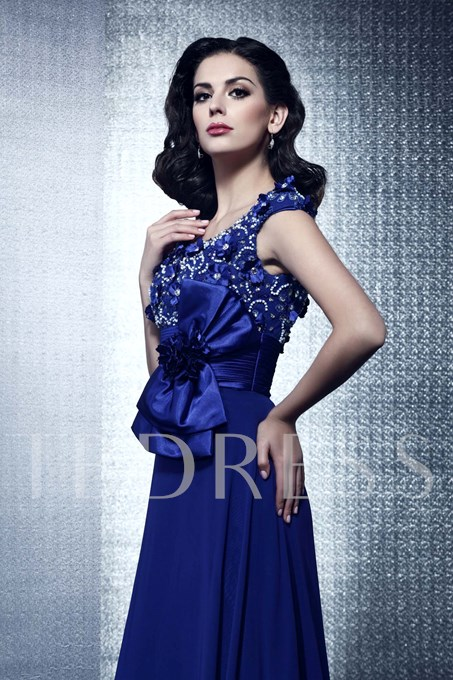A-line V-neck Bowknot Beading Flowers Long Evening Dress