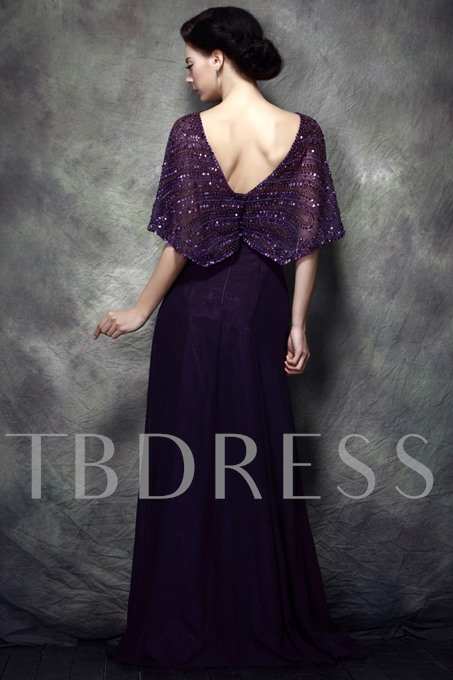 V-Neck Sequined Beading Long Mother of Bride Dress