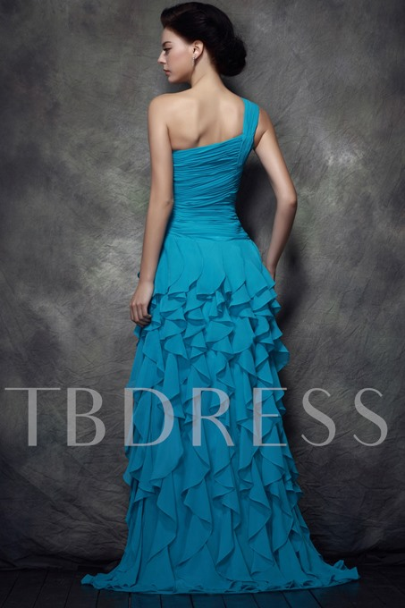 Ruffles One Shoulder Mother of the Bride Dress