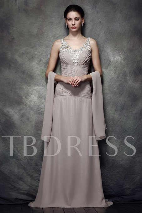 Column V-Neck Mother of the Bride Dress With Shawl