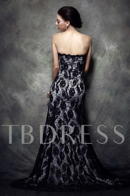 Rhinestone Floral Pin Lace Strapless Evening Dress