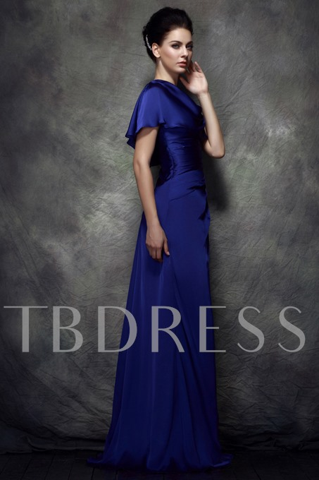 A-Line Scoop Neckline Satin Chiffon Mother of the Bride Dress